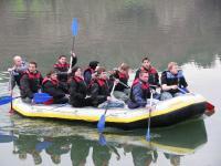 Schlauchbootfahrt auf dem Inn zum Abschluss der Erlebnispädagogischen Maßnahme